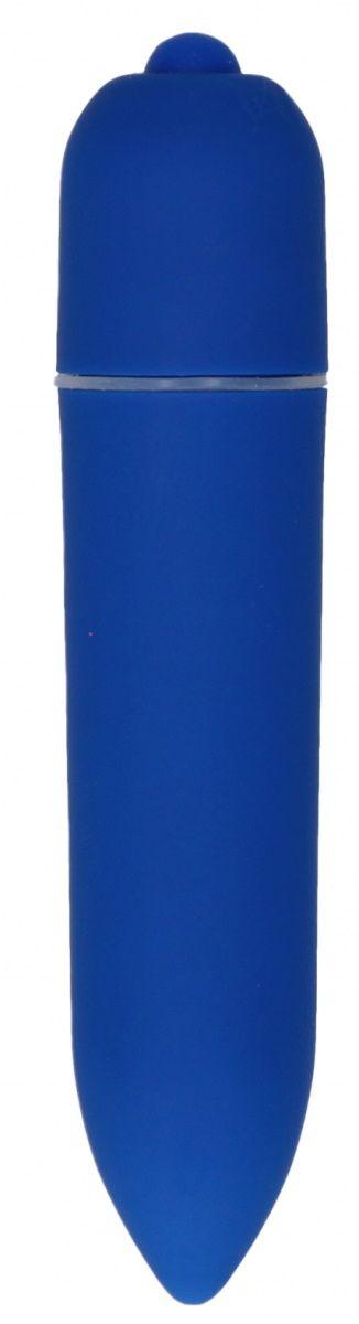 Синяя удлинённая вибропуля Power Bullet Black - 8