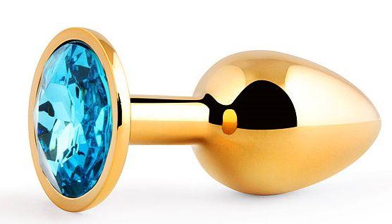 Золотистая анальная пробка с голубым стразом - 7