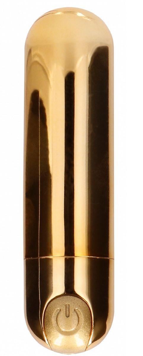 Золотистая перезаряжаемая вибропуля 7 Speed Rechargeable Bullet - 7